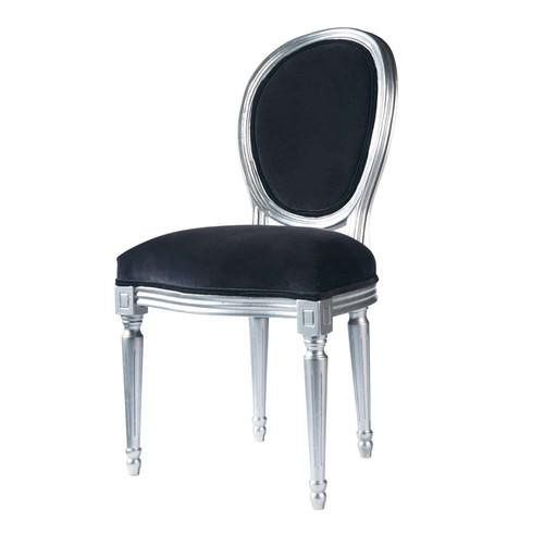 Chaise m daillon en velours et h v a grise louis maisons du monde - Chaise medaillon grise ...