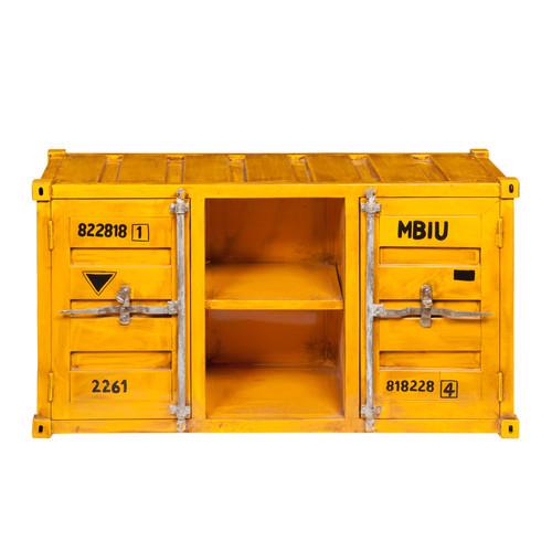 Meuble tv container en m tal jaune l 129 cm for Maison container 64