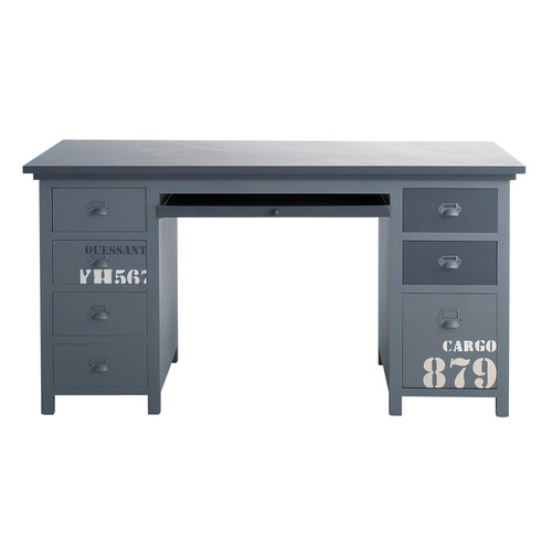 bureau en bois gris l 150 cm cargo maisons du monde. Black Bedroom Furniture Sets. Home Design Ideas