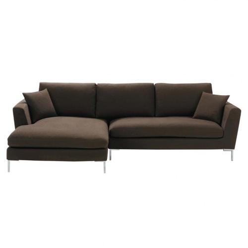 canap d 39 angle 5 places fixe marron glac dublin maisons du monde. Black Bedroom Furniture Sets. Home Design Ideas