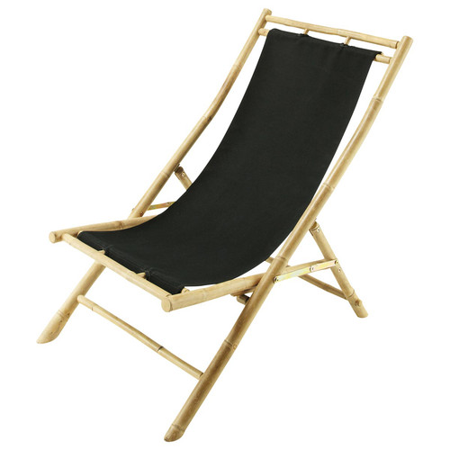Chaise longue chilienne pliable noire bambou robinson for Chaise longue noire