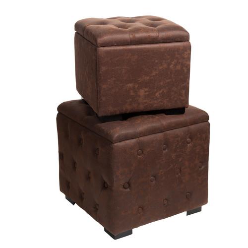 2 poufs coffres en tissu l 33 cm et l 43 cm vintage. Black Bedroom Furniture Sets. Home Design Ideas