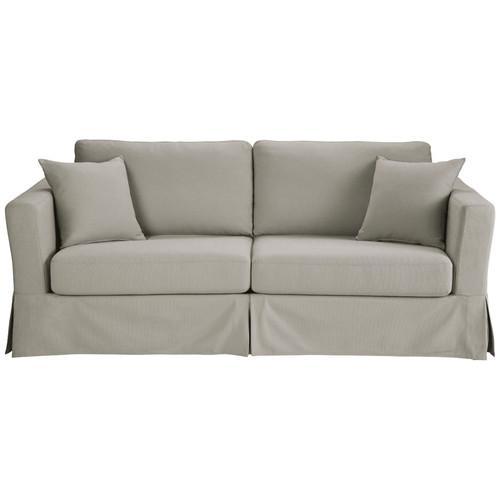 canap convertible 3 places en coton gris clair. Black Bedroom Furniture Sets. Home Design Ideas