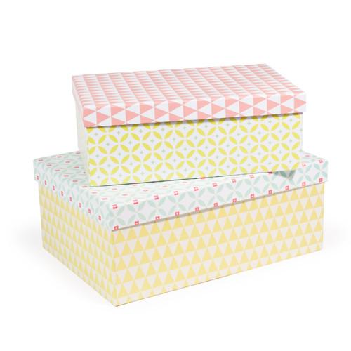 2 bo tes en carton jaunes roses et vertes l 30 et l 35 cm. Black Bedroom Furniture Sets. Home Design Ideas
