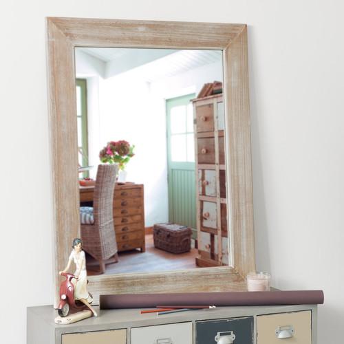 Miroir c rus en bois de paulownia h 90 cm natura for Miroir 90x120