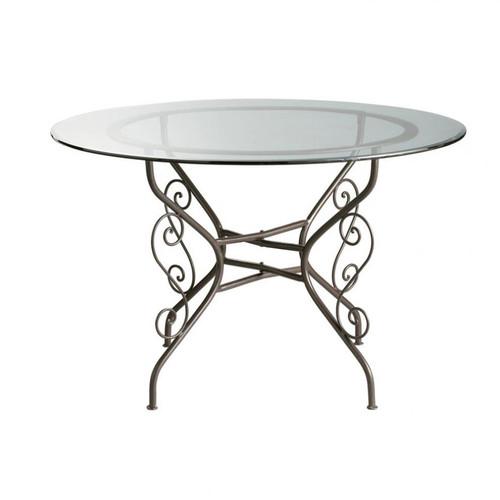 Table ronde de salle manger en verre et fer forg d 120 for Salle a manger en fer forge