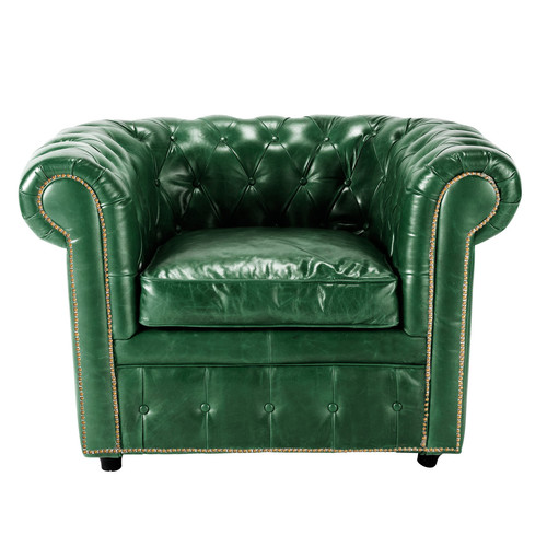 fauteuil cuir vert vintage maisons du monde. Black Bedroom Furniture Sets. Home Design Ideas