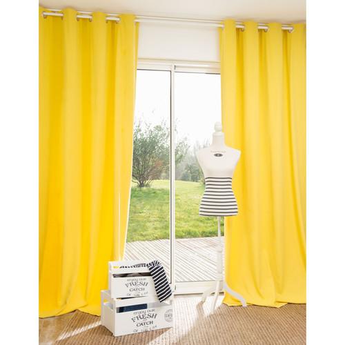 rideau illets en coton jaune moutarde 140 x 250 cm pornic maisons du monde. Black Bedroom Furniture Sets. Home Design Ideas