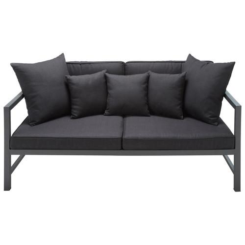 banquette de jardin 2 places en aluminium anthracite. Black Bedroom Furniture Sets. Home Design Ideas
