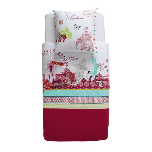 parure de lit enfant 140 x 200 cm en coton multicolore pinkplanet maisons du monde. Black Bedroom Furniture Sets. Home Design Ideas