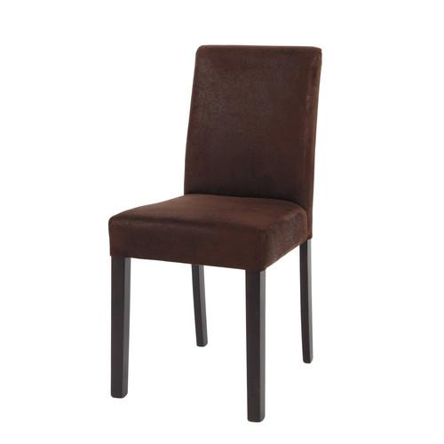 Chaise imitation cuir et bois marron tempo maisons du monde - Chaises cuir marron ...