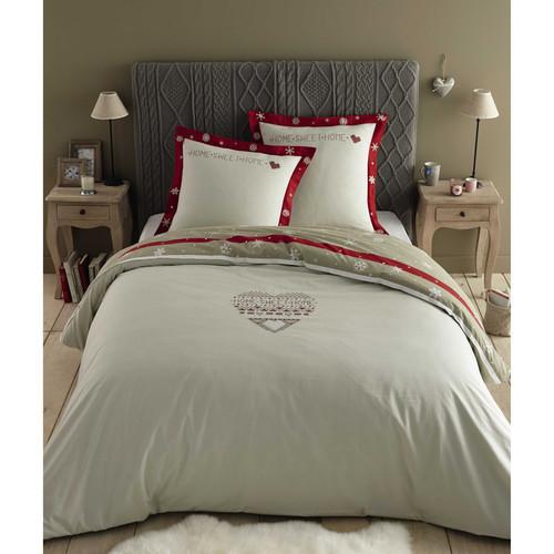 parure de lit 240 x 260 cm en coton blanche rouge alpaga maisons du monde. Black Bedroom Furniture Sets. Home Design Ideas