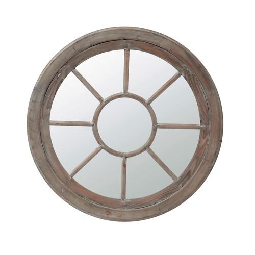 Miroir rond en bois h 90 cm mirage maisons du monde for Miroir rond bois