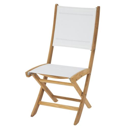 Chaise de jardin pliante blanche teck capri maisons du monde for Chaise de jardin newton