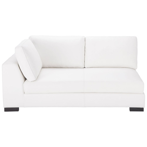 Canap convertible modulable gauche en cuir blanc terence for Canape couchage permanent