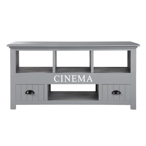 Meuble TV en bois gris L 120 cm Newport  Maisons du Monde -> Meuble Tv Gris