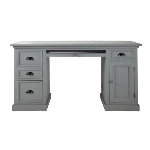 Wooden desk in grey w 150cm newport maisons du monde - Bureau gris taupe ...