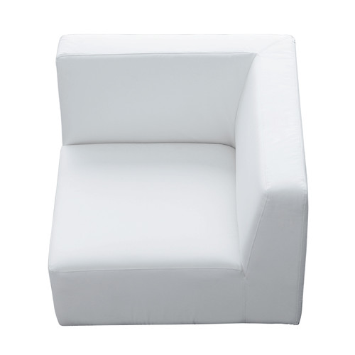 Fauteuil d 39 angle imitation cuir blanc - Chauffeuse cuir blanc ...