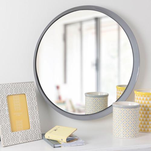 Miroir rond en m tal gris d 51 cm hailey maisons du monde for Miroir rond gris
