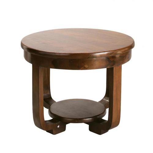 Table basse ronde en teck massif d 60 cm charleston for Table basse en teck massif