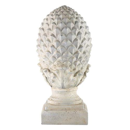 Pomme de pin d co en r sine blanche h 58 cm maisons du monde for Maison du monde 974