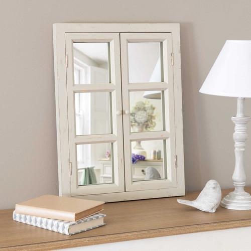 miroir fen tre en bois cru h 50 cm. Black Bedroom Furniture Sets. Home Design Ideas