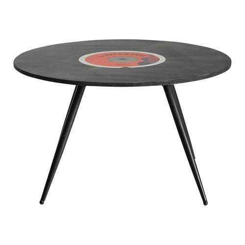 Table basse ronde vintage en bois noire d 70 cm vinyl - Table basse ronde noire ...