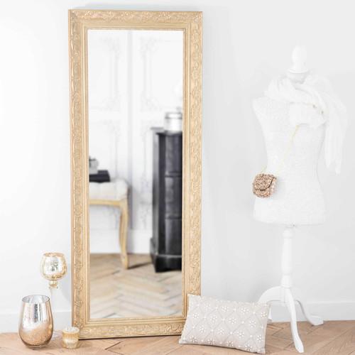 Miroir en bois de paulownia dor h 145 cm valentine for Miroir 7 ans de malheur