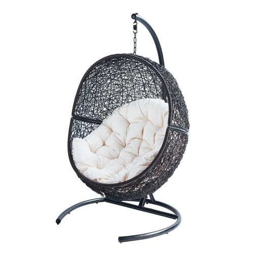 Fauteuil de jardin sur pied en r sine marron cocon maisons du monde - Pied fauteuil suspendu ...
