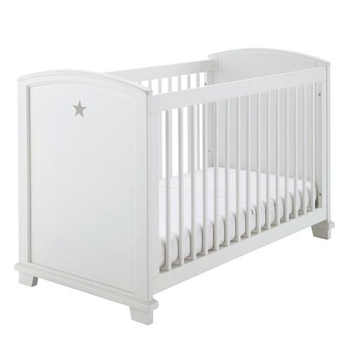 lit b b barreaux en bois blanc motif toile l 131 cm pastel maisons du monde. Black Bedroom Furniture Sets. Home Design Ideas