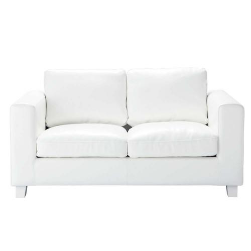canap 2 places en cro te de cuir ivoire kennedy maisons. Black Bedroom Furniture Sets. Home Design Ideas