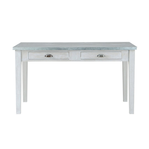 Table de salle manger en bois grise l 140 cm zinc for Table exterieur zinc