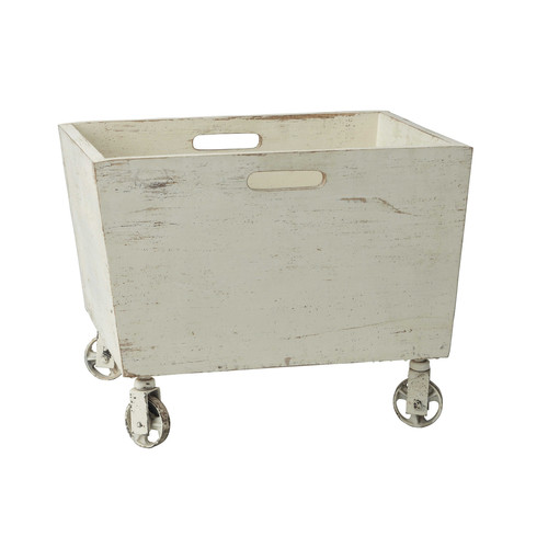 caisse roulettes en bois et m tal blanche effet vieilli 38 x 50 cm andy. Black Bedroom Furniture Sets. Home Design Ideas