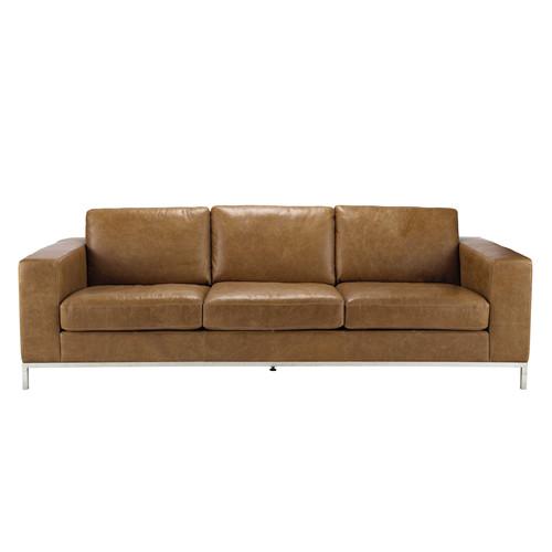 vintage sofa 4 sitzer aus leder camelfarben jack maisons du monde. Black Bedroom Furniture Sets. Home Design Ideas