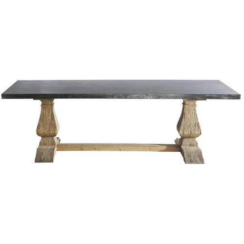 Table de salle manger en m tal et bois recycl l 240 cm - Table a manger metal et bois ...