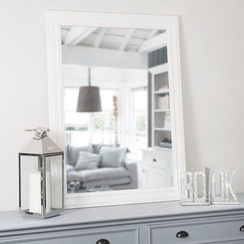 Miroir napoli blanc 120x90 maisons du monde for Miroir blanc rectangulaire