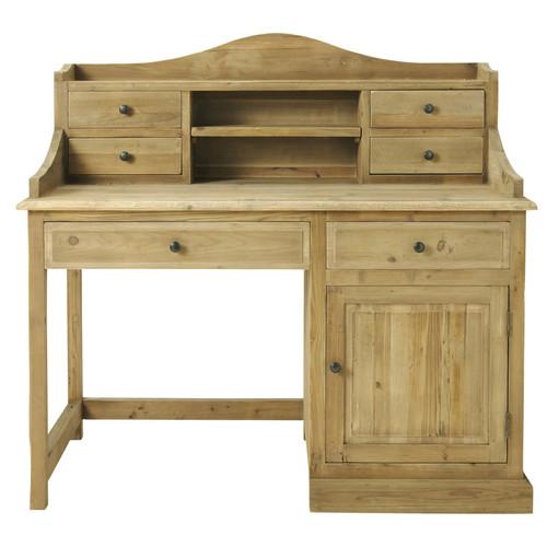 Bureau enfant bois recycl noisette maisons du monde for Grand bureau en bois