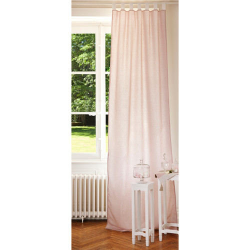 Double Sided Drapes : Linen tab top double sided curtain in pink and white