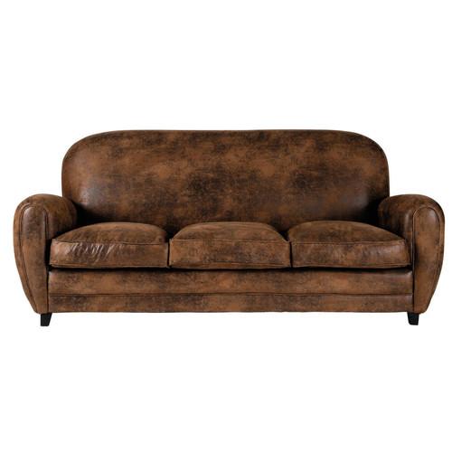 canap 3 places en su dine marron arizona maisons du monde. Black Bedroom Furniture Sets. Home Design Ideas