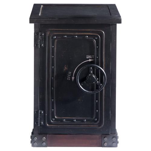 cabinet de rangement coffre fort en bois noir effet vieilli l 53 cm bank maisons du monde. Black Bedroom Furniture Sets. Home Design Ideas