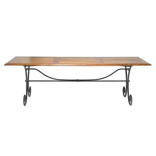 table de salle manger en bois de sheesham massif et fer forg l 240 cm lub ron maisons du monde. Black Bedroom Furniture Sets. Home Design Ideas