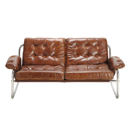 banquette vintage 2 places en cuir marron. Black Bedroom Furniture Sets. Home Design Ideas