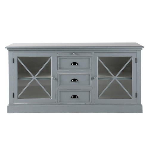 buffet vitr bois gris newport maisons du monde. Black Bedroom Furniture Sets. Home Design Ideas