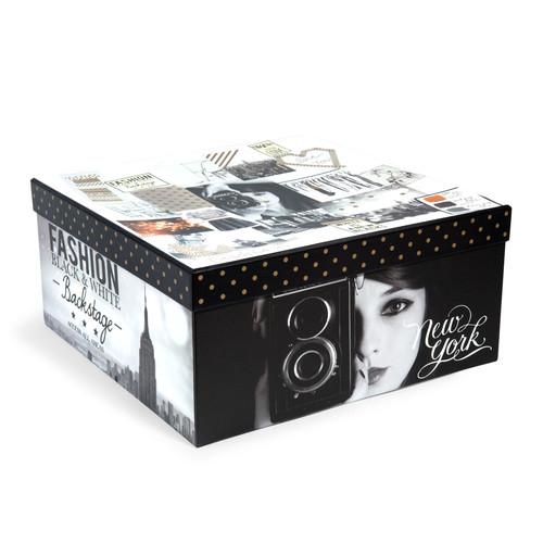 Bo te de rangement en carton h 15 cm fashion rules - Boite de rangement maison du monde ...
