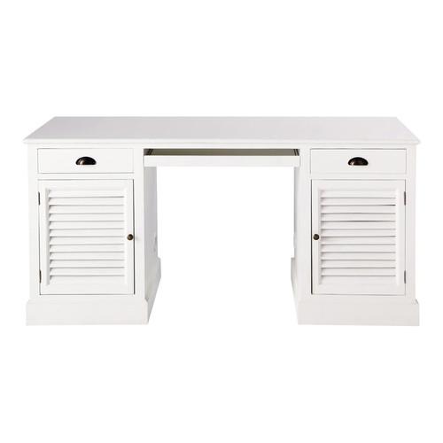 Bureau Bois Blanc : Bureau en bois blanc L 150 cm Barbade Maisons du Monde