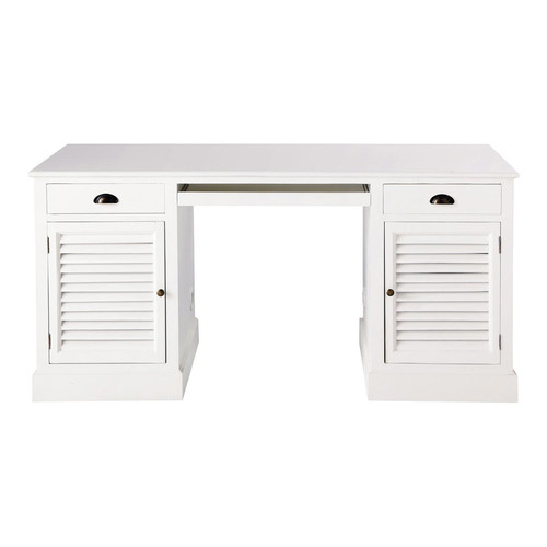 bureau en bois blanc l 150 cm barbade maisons du monde. Black Bedroom Furniture Sets. Home Design Ideas