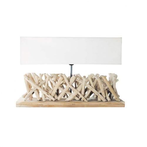 lampe en bois flott et abat jour en tissu h 16 cm fjord maisons du monde. Black Bedroom Furniture Sets. Home Design Ideas