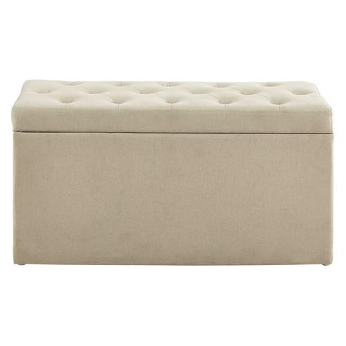 coffre banc 2 poufs en coton beige l 79 cm marceau. Black Bedroom Furniture Sets. Home Design Ideas