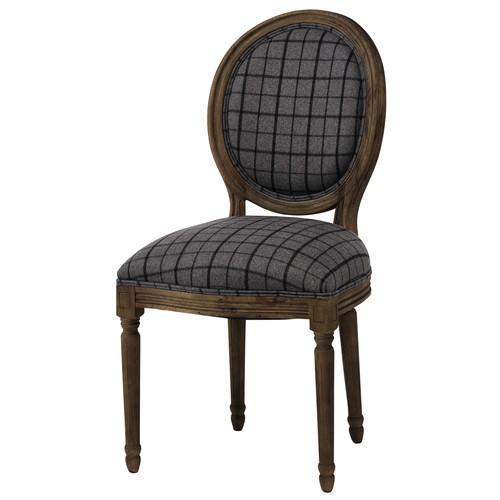 Sedia a medaglione in tessuto a quadretti e quercia grigio anticato ...