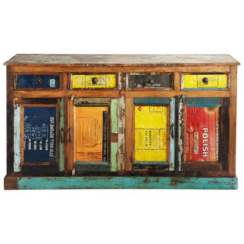 buffet en bois recycl multicolore l 165 cm r cup. Black Bedroom Furniture Sets. Home Design Ideas